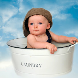 up and away by Susan Davies - Babies & Children Child Portraits ( clouds, large cap, blue eyes, handsome, laundry tub, baby boy )