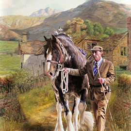 by Kathryn Potempski - Digital Art Animals ( equine, farmer, horse, art, digital art, clydesdale, digital drawing, people, photography )