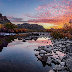 Salt River Sunset by Larry Reeves - Landscapes Sunsets & Sunrises ( water, reflection, sky, desert, sunset, arizona, canyon, river )