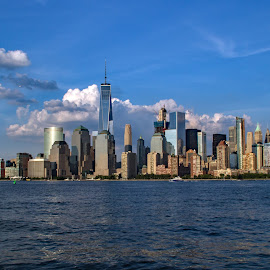Skyline and Clouds I by Judy Florio - City,  Street & Park  Skylines ( clouds, water, skyline, sky, bay, manhattan, cityscape, new york, landscape )
