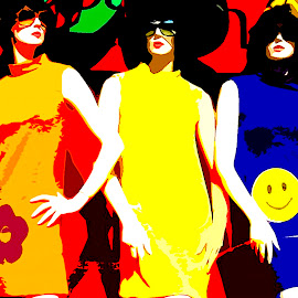 The 1960's  by Ronnie Caplan - Digital Art People ( orange, fashion, happy face, green, poses, females, sunglasses, models, hats, red, colourful, blue, 1960's, stylish, dresses, flower power, flowers )