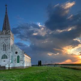 The Calm after the Storm by Ken Smith - Buildings & Architecture Decaying & Abandoned ( country church, sunset, nebraska, landscape )