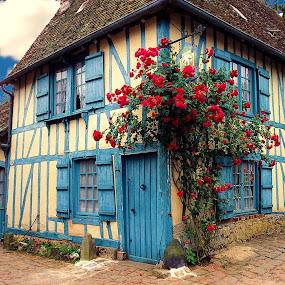 Gerberoy - La maison bleue by Gérard CHATENET - City,  Street & Park  Street Scenes (  )