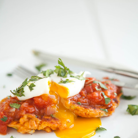 Sweet Potato Cakes with Makhani Tomato Sauce and Poached Egg
