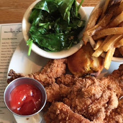 5 GF chicken tenders, fresh cut French fried, sautéed spinach and garlic. And all plates come with GF Jalapeño cornbread! Delicious and filling