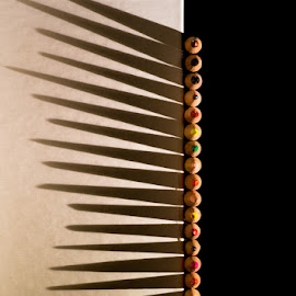 Shadow Play by Jerry Kambeitz - Artistic Objects Other Objects ( pencil, vertical, colors, crayons, shadows )