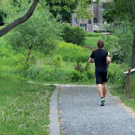 The runner man by Réjean Côté - Sports & Fitness Running ( green, trees, runner, the runner man, tamron, man )