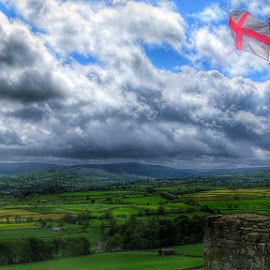 This Geen and Pleasant Land... by Gordon Westran - Landscapes Mountains & Hills ( st george, flag, land, bolton castle, castle )