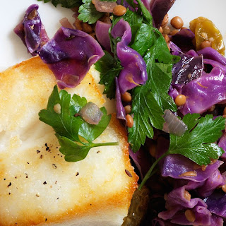 Quick Braised Red Cabbage and Lentils with Seared Cod