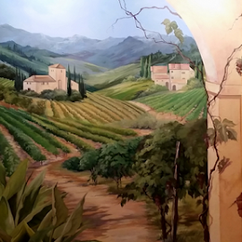 Front Entrance Mural by Mina Thompson - Buildings & Architecture Homes ( home, vineyard, art, mural, italy, spanish-style, entrance )