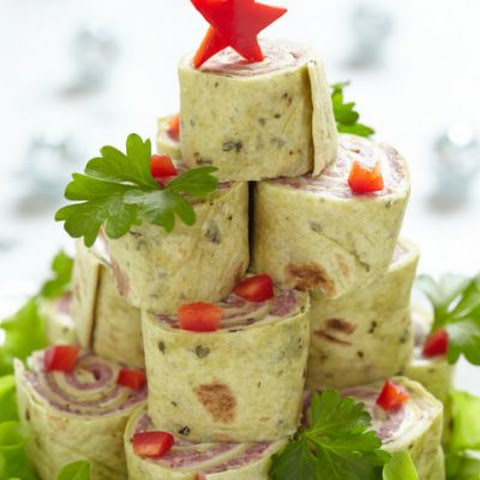 Ham and Swiss Roll Christmas Tree Tower