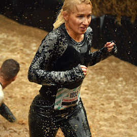 Strong Diane by Marco Bertamé - Sports & Fitness Other Sports ( water, splatter, splash, differdange, 2015, blond, number, 1952, waterdrops, soup, running, luxembourg, mud, strong, woman, drops, dirty, lady, brown, strongmanrun, black )