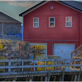 Lobster Pots in Maine Backyard  by Lorraine D.  Heaney - City,  Street & Park  Street Scenes