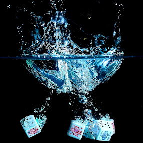 Dice under water by Vineet Johri - Artistic Objects Still Life ( water, pwcstilllife-dq, vkumar, dice )