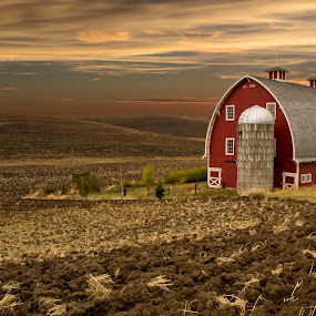 Heidenreich Dairy Barn by Brent Huntley - Buildings & Architecture Other Exteriors ( palouse, washington, brentsfavoritephotos.blogspot.com, barn, sunset, heidenreich, dairy, colfax,  )