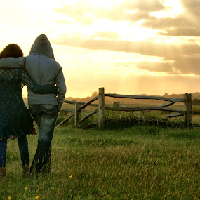 sunset walk by Jodie Newton - Landscapes Prairies, Meadows & Fields ( fence, walking, couple, sunset walk, gate, fields )