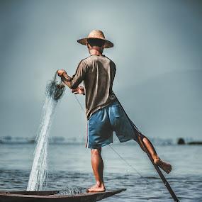 the Fisherman by Bendik Møller - Digital Art People ( water, waterscape, back, sea, ocean, travel, seascape, net, boat, people, hat, asian, inle lake, myanmar, vacation, sky, travel location, asia, summer, fishing, fisherman, travel photography, nautical )