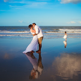 On the beach by Charlotte Hellings - Wedding Bride & Groom ( love, reflection, couple, beach, beauty, soulmates )