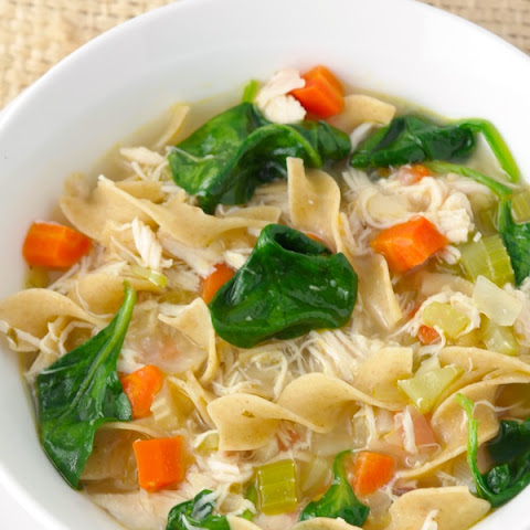 Chicken Noodle Soup with Spinach