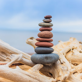 Stacking Stones by Luke Johnson - Nature Up Close Rock & Stone ( sand, driftwood, lake superior, beach, stones, rocks )