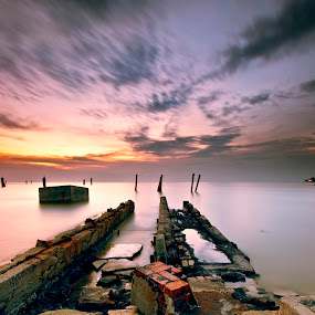 The Abandon Fish Dock by SyaFiq Sha'Rani - Landscapes Waterscapes ( waterscape, sunset, fish, factory, abandon, dock )
