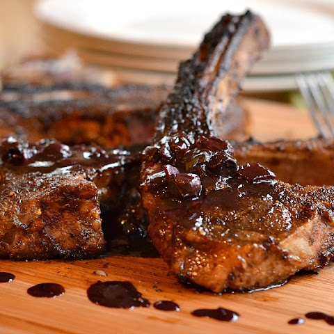 Coffee-Rubbed Lamb Chops with Blueberry Balsamic Reduction