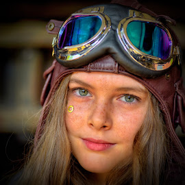 by Marco Bertamé - Babies & Children Child Portraits ( child, two, girl, cap, blond, goggles, long, steampunk, hair, portrait, eyes,  )
