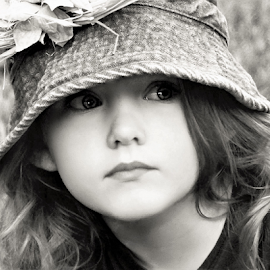 Looking Off in the Grass B&W by Cheryl Korotky - Black & White Portraits & People