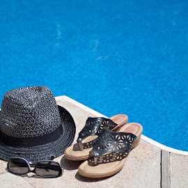 A Day at the Pool by Sherry Hallemeier - Artistic Objects Clothing & Accessories ( water, photograph, still life, phone cases, fine art, acrylic, canvas, framed art, accessories, photo, photography, swimming, hat, sun glasses, summer hat, metal, pool, summer, hot, sandals, metallic, artistic objects )