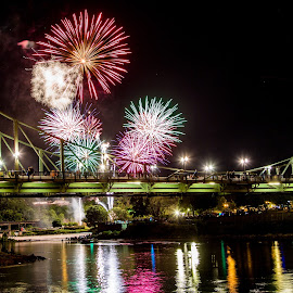Fireworks Over the Delaware July 10, 2016 by Dave Dabour - Public Holidays July 4th ( phillipsburg, 2016, fireworks, delaware river, free bridge, heritage day, easton )
