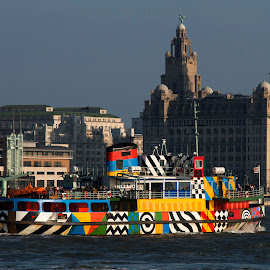 Ferry 'Cross The Mersey. by Simon Matthews - Transportation Boats ( water, mersey, ferry, scouse, liverpool, colors, beatles, boat )
