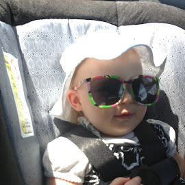 Sure is Sunny Out Today! by Sherry Hallemeier - Babies & Children Children Candids ( photograph, glasses, sunny, car seat, summer, children, candid, toddler, photo, photography, portrait, seatbelt, hat )