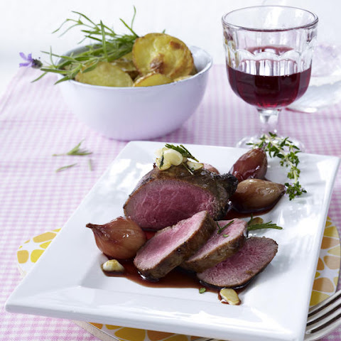 Lamb Steak with Red Wine Shallot Sauce