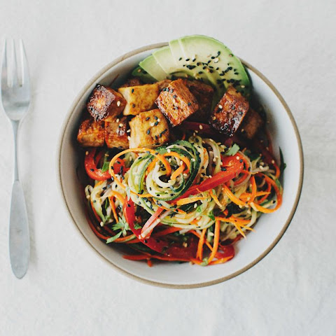 Slivered Veggie and Soba Salad with Mapled Tofu
