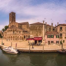 Murano by Ole Steffensen - City,  Street & Park  Vistas ( italia, boats, vista, murano, church of santa maria e san donato, canal, italy )