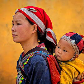 Concern by Amanda Ellis - People Street & Candids ( child, mother, child on mothers back, sapa, vietnam )