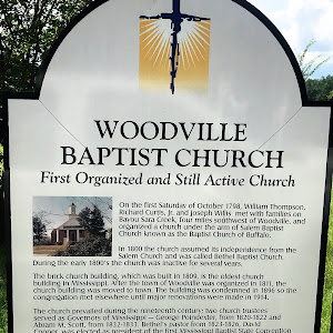 On the first Saturday of October 1798, William Thompson, Richard Curtis, Jr. and Joseph Willis met with families on Bayou Sara Creek, four miles southwest of Woodville, and organized a church under ...