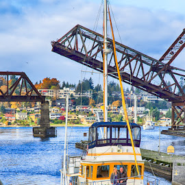 Transition by Briand Sanderson - Transportation Boats ( marine, ballard locks, ship, yacht, transportation, boat, usa, united states, washington state, seattle, locks, ballard, bridge, nautical )