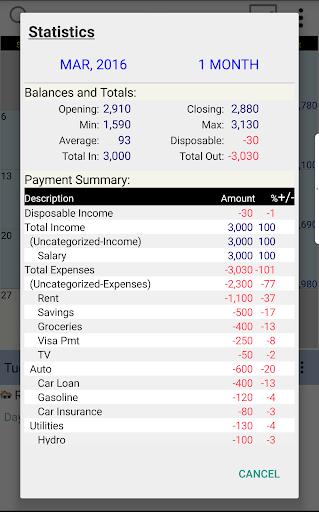 Budget Calendar - screenshot