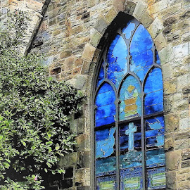 Stained glass window by Mary Gallo - Buildings & Architecture Places of Worship ( structure, blue glass, window, place of worship, glass, architecture, cut glass )