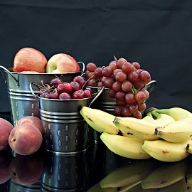 Healthy Living by Sherry Hallemeier - Food & Drink Fruits & Vegetables ( photograph, still life, phone cases, fine art, reflections, artwork, photography, metal, grapes, fresh, bananas, fine art photography, card, apples, artistic objects, prints, cards, fruit, buckets, tins, art, acrylic, canvas, red grapes, peaches, photo, food, pewter, artistic, eating, healthy, summer, freshness, cherries, posters )