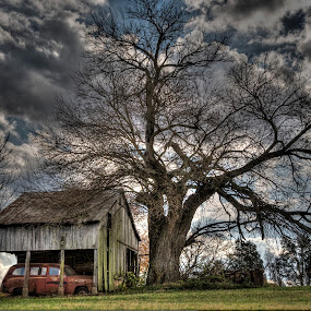 Red Car by Vicki Overman - Transportation Automobiles ( clouds, winter clouds, old car, barn, photomatix )