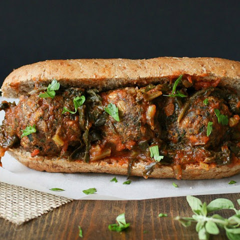 Beanball Sub Sandwich With Marinara and Greens [Vegan, Gluten-Free]