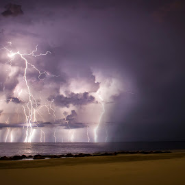 Lightning_1 by Greg Bierer - Landscapes Beaches ( lightning, sunset, florida, weather, beach, storm )