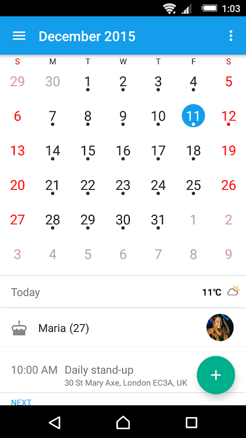Xperia™ Calendar Screenshot