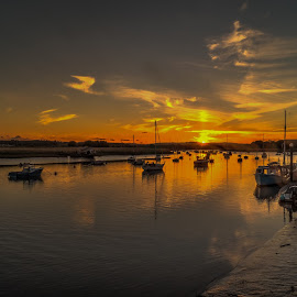 Sunset over the river 2 by Mark Thompson - Landscapes Sunsets & Sunrises ( clouds, water, reflection, sunset, boats, yachts, river )