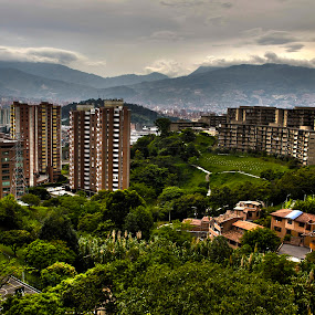 Medellin City Skyline HDR by Stephanie Walsh - City,  Street & Park  Skylines ( colombia, skyline, hdr, medellin, cityscape, hdr photography )