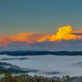 valley of mist by Simon Wood - Landscapes Cloud Formations ( canon, clouds, orange, strange, uk, fog, moors, devon, valley, sunrise, tamron, exeter, mist,  )