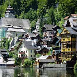A Different Perspective - Hallstatt, Austria by Jebark Fineartphotography - Buildings & Architecture Homes ( water, village, hallstatt, austria, historic, alpine, alps )