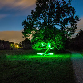 Lightpainting in the park  by Andi Meier - Abstract Light Painting